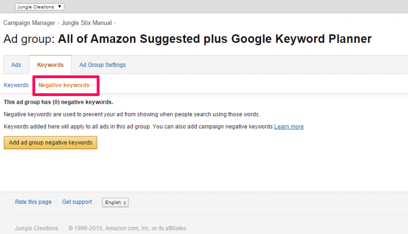 negative keywords for amazon ppc campaigns